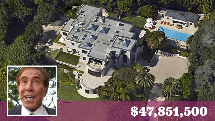 Hotel and casino magnate Steve Wynn's off-market purchase in Beverly Hills was among the most expensive home sales in the greater Los Angeles area last week.