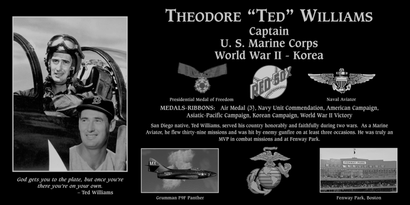Mt. Soledad National Veterans Memorial Association will present a special plaque in honor of San Diego native Ted Williams, who died in 2002. The baseball Hall-of-Famer was also a Naval Aviator in the Korean War, who flew 39 combat missions.