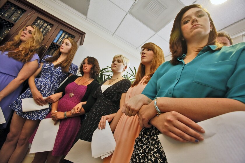Sexual assault victims attend a news conference with attorney Gloria Allred in April 2013. The women were students at Occidental College.