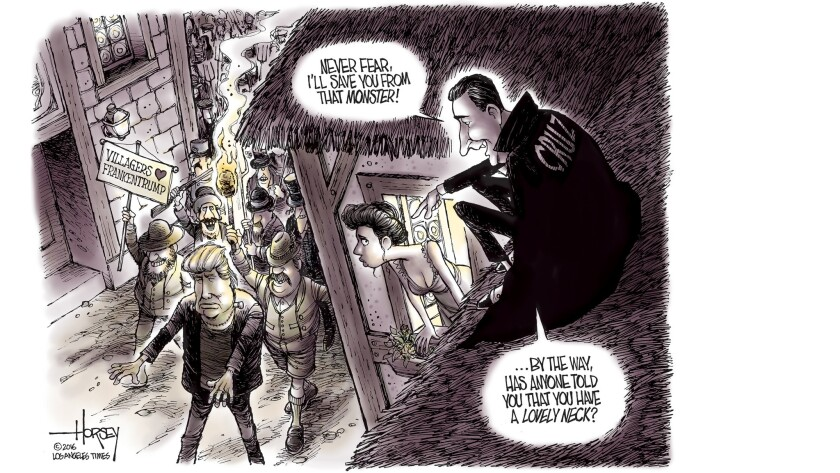 "Ted ""Dracula"" Cruz and the Trump monster as depicted by Times' cartoonist David Horsey."