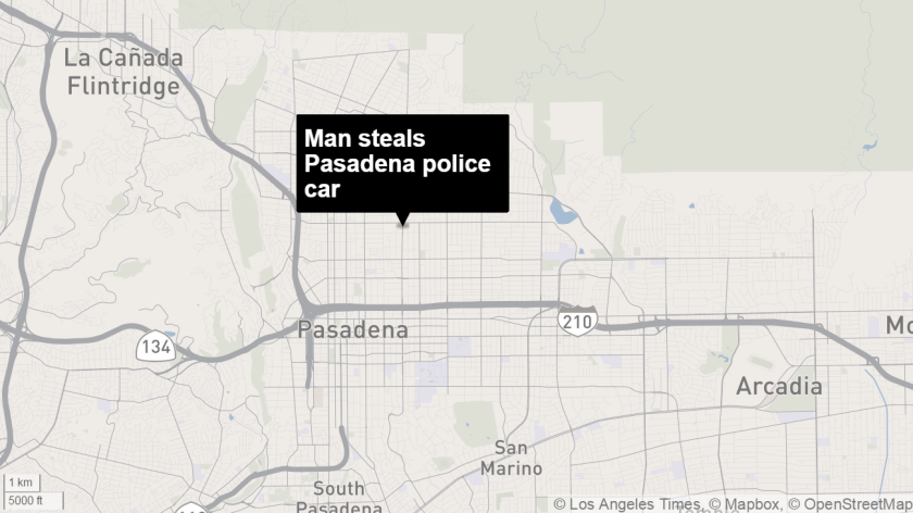 A man was arrested on suspicion of stealing a Pasadena Police Department patrol car, officials said.