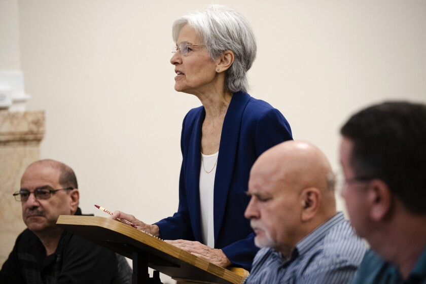 Former Green Party presidential candidate Jill Steins speaks at a board of elections meeting at City Hall, in Philadelphia, Wednesday, Oct. 2, 2019. Stein wants Pennsylvania to block Philadelphia from using new touchscreen machines it's buying ahead of 2020's elections and is threatening court action if it doesn't do so promptly. (AP Photo/Matt Rourke)