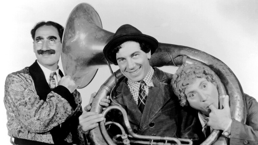 A day with the Marx Brothers on TCM. Groucho, left, Chico and Harpo Marx