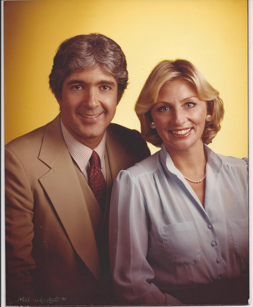 Sun Up show co-hosts Jerry G. Bishop, who died in 2013, and Danuta in a 1980 KFMB-TV studio shot.