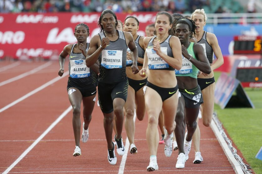 Semenya Caster from South Africa, second left, races to win the women's 800-meter at the International Mohammed VI track and field meeting in Rabat, Morocco, Sunday, May 22, 2016. (AP Photo/Abdeljalil Bounhar)