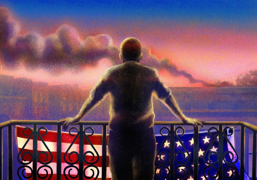 Illustration of a man looking out from a balcony draped in an American flag