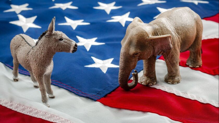 Democrats vs republicans are facing off in a ideological duel on the american flag. In American poli