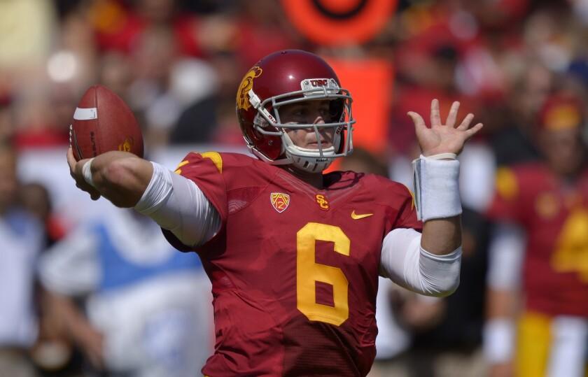USC quarterback Cody Kessler injured his right hand in Saturday's win over Utah State.