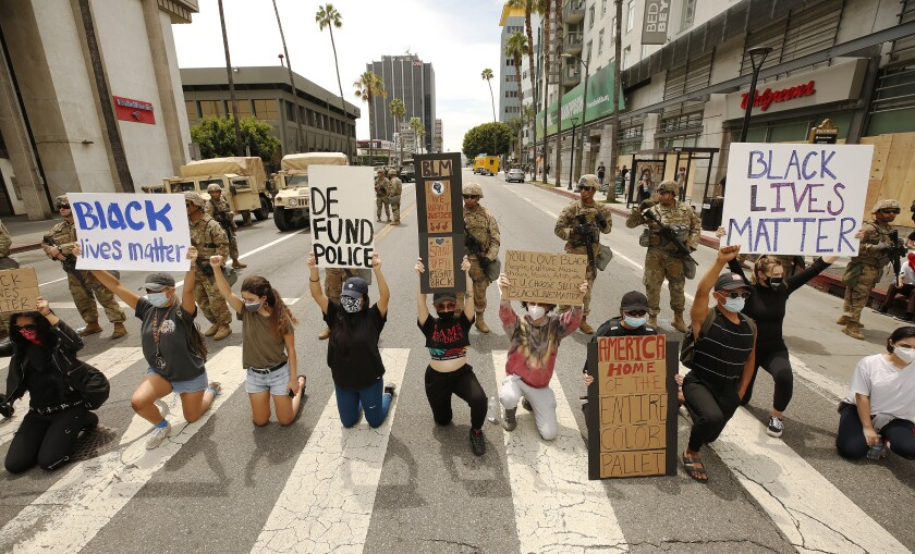 Protesters in Hollywood.