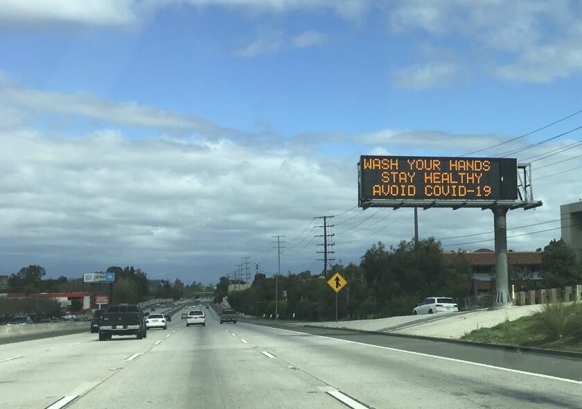 Coronavirus freeway sign