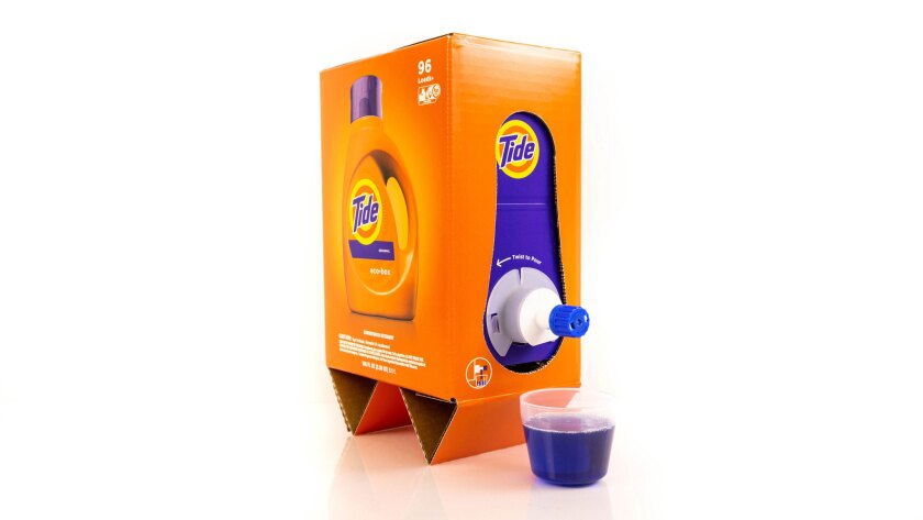 This undated image provided by P&G shows the Tide Eco-Box. Tide and Seventh Generation have introduc