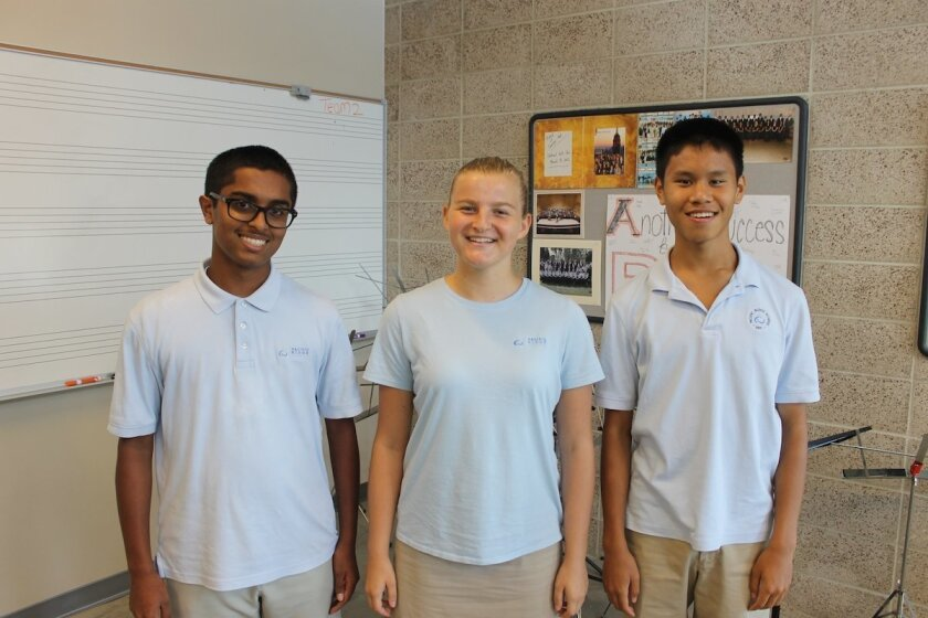 Pacific Ridge School sophomores Anurag Aiyer (Carlsbad), Rachael Bell (Encinitas), and Christopher Ong (Solana Beach) have been selected for the 2015 Southern California Vocal Association High School Honor Choir. Courtesy photo