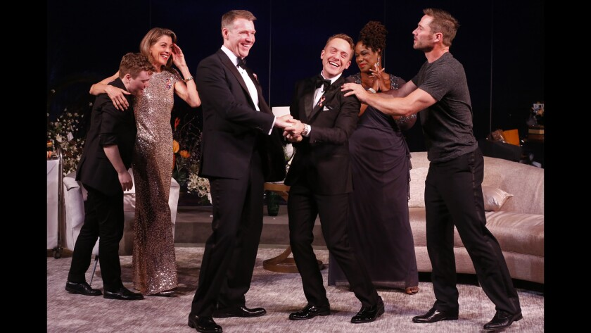 """In Paul Rudnick's """"Big Night,"""" the life of an Oscar-nominated actor is about to change, big time. The cast, from left: Tom Phelan, Wendie Malick, Brian Hutchison, Max Jenkins, Kecia Lewis and Luke Macfarlane."""