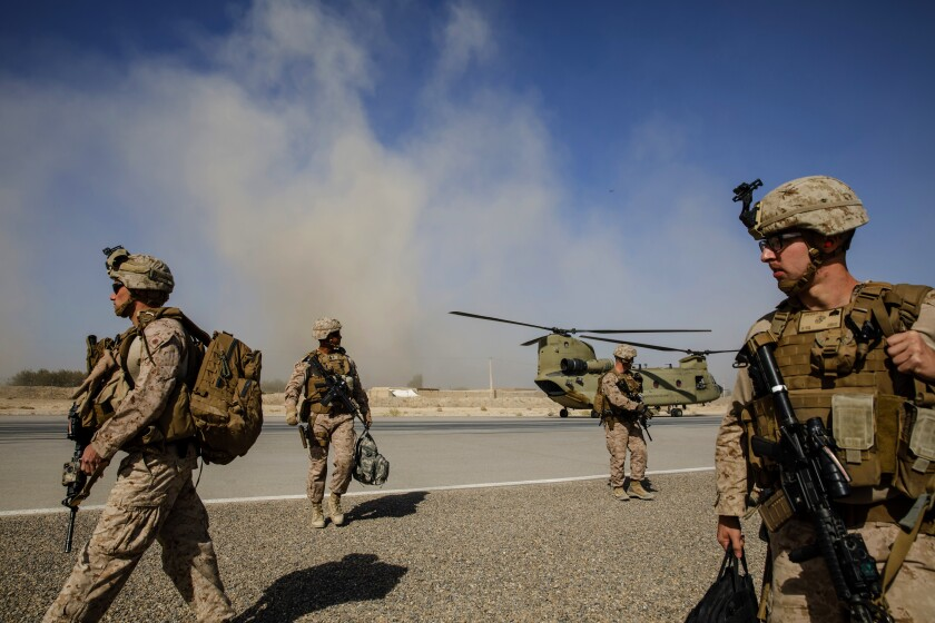 U.S. Marines in Afghanistan in a photo from 2019.