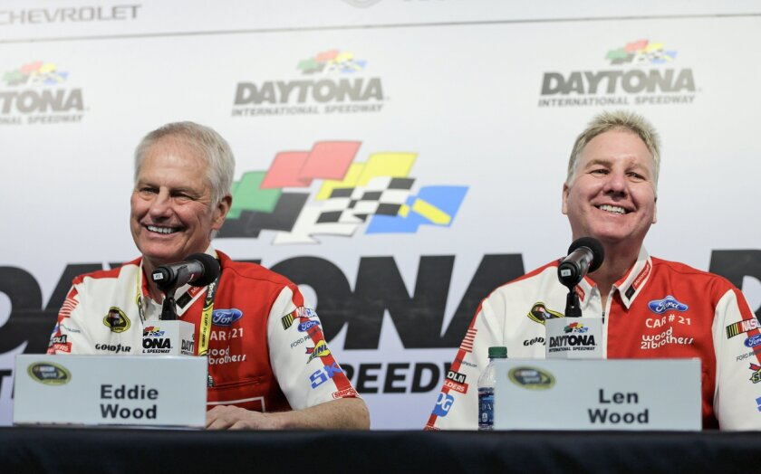 NASCAR auto racing team owners Eddie Wood, left, and Len Wood answer questions during a news conference at Daytona International Speedway, Friday, Feb. 12, 2016, in Daytona Beach, Fla. (AP Photo/Terry Renna)
