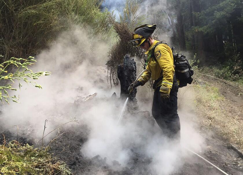 Kyle Marshall, bombero del Distrito de Bomberos de Novato, trata de apagar un incendio en Big Sur, California, el viernes 29 de julio del 2016. Equipos de bomberos lucharon el lunes 1 de agosto del 2016 contra altas temperaturas, mientras trataban de apagar un incendio que quemó casas rurales y forzó la evacuación de cientos de personas en el valle central de California. (Foto AP/Terry Chea)