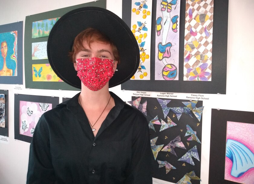 Ramona High sophomore Casey Flum used images of bees for her suspended form transition art in 2Create Gallery.