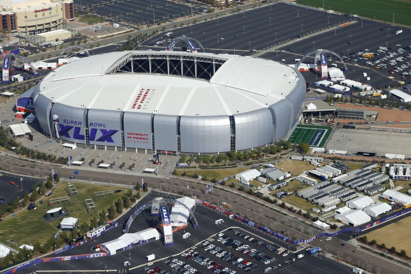The University of Phoenix Stadium will host the NFL Super Bowl XLIX football game Sunday. Insurance industry data shows that drunk driving car crash rates increase on Super Bowl Sunday.
