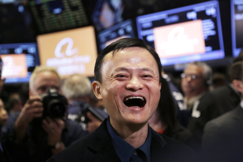 Alibaba founder Jack Ma during the company's IPO at the New York Stock Exchange in September 2015.