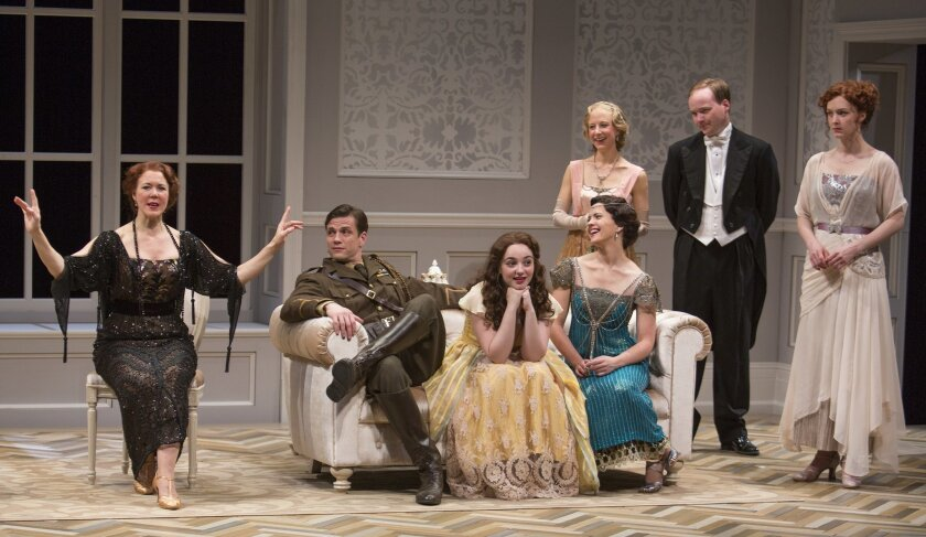 """Kim Martin-Cotten, Lee Aaron Rosen, Leanne Agmon, Rose Hemingway, Sarah Manton, Jonathan Fielding and Amanda Quaid (left to right) in the Old Globe's """"Time and the Conways."""""""