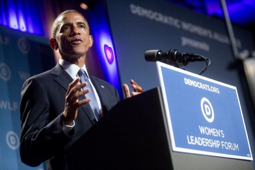 President Obama speaks at the Democratic National Committee's annual Women's Leadership Forum in Washington on Friday.