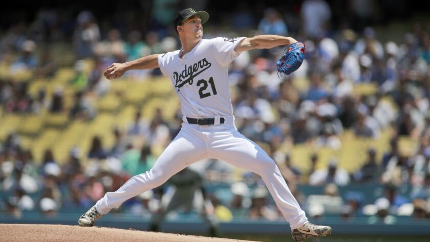 LOS ANGELES, CALIF. -- SUNDAY, MAY 27, 2018: Dodgers starting pitcher Walker Buehler delivers a pit