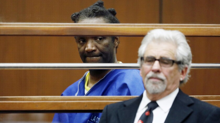 Terry Bryant is with attorney Daniel Brookman in a Los Angeles courtroom last March during his arraignment on a charge of stealing Frances McDormand's Oscar.