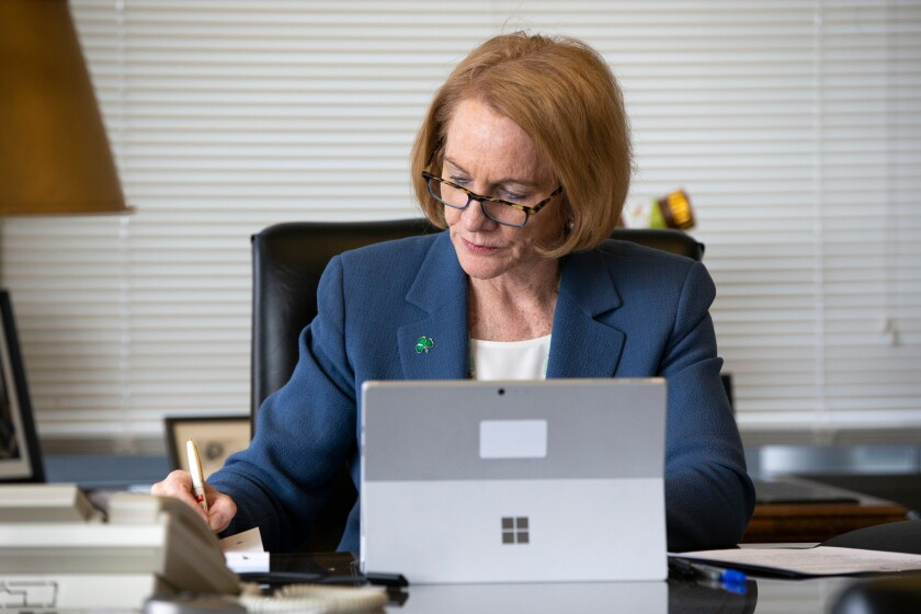 Seattle Mayor Jenny Durkan holds an online meeting with department directors.