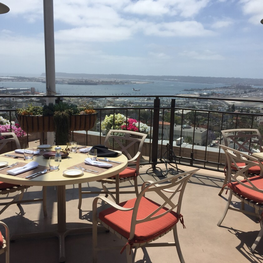 From its 12th-floor perch, Mr. A's patio offer's one of San Diego's most striking panoramas