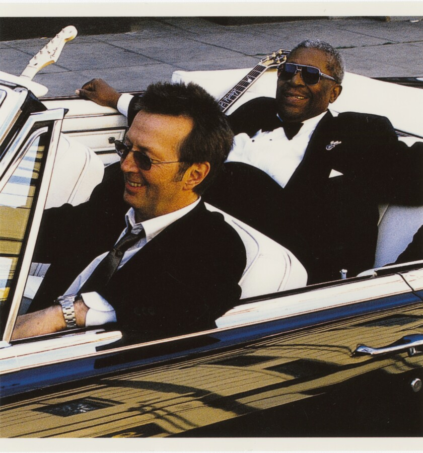 """Eric Clapton and B.B. King pose for the cover of their Grammy Award-winning 2000 album, """"Riding with the King."""""""