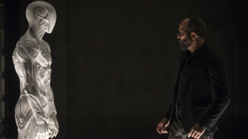 "Bernard (Jeffrey Wright) confronts ""Westworld's"" newest horrific addition when the series returns to HBO for a second season."