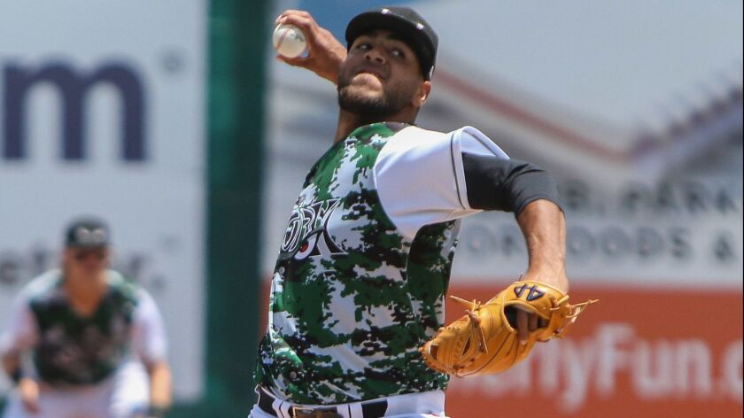 The Lake Elsinore Storm Pedro Avila #16 pitches during their game against Visalia RawhideMonday May