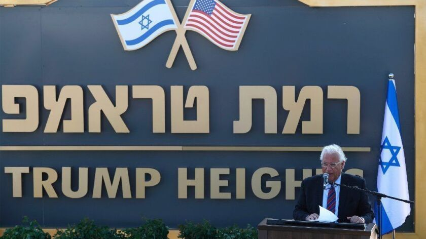 U.S. Ambassador to Israel David Friedman speaks during a ceremony on June 16 for a new settlement in the Golan Heights that will be called Trump Heights.