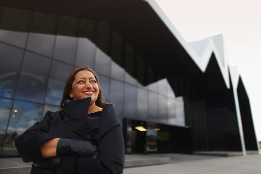 Zaha Hadid in 2009 outside her Riverside Museum in Glasgow, Scotland. Hadid, the first woman to win the Pritzker Prize, architecture's highest honor, has died at age 65.