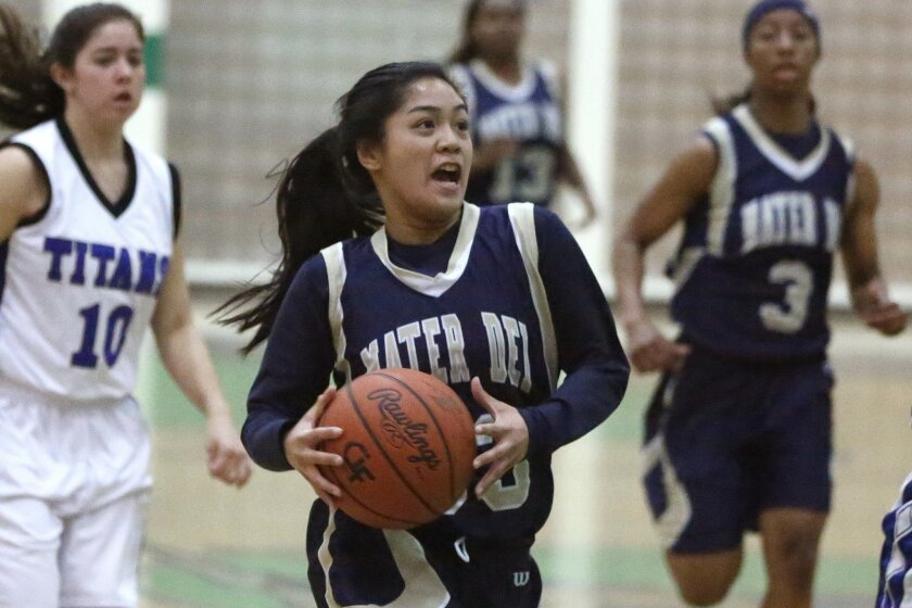 Mater Dei Catholic's Kristine Sellona (shown in a game from last season) had 16 points in the Crusaders' playoff win over Serra on Friday night.