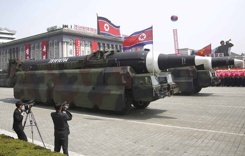 What military experts say appears to be a North Korean KN-08 Intercontinental Ballistic Missile is seen during a military parade on Saturday in Pyongyang.