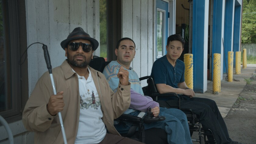 Ravi Patel, from left, Grant Rosenmeyer and Hayden Szeto in the movie 'Come As You Are'