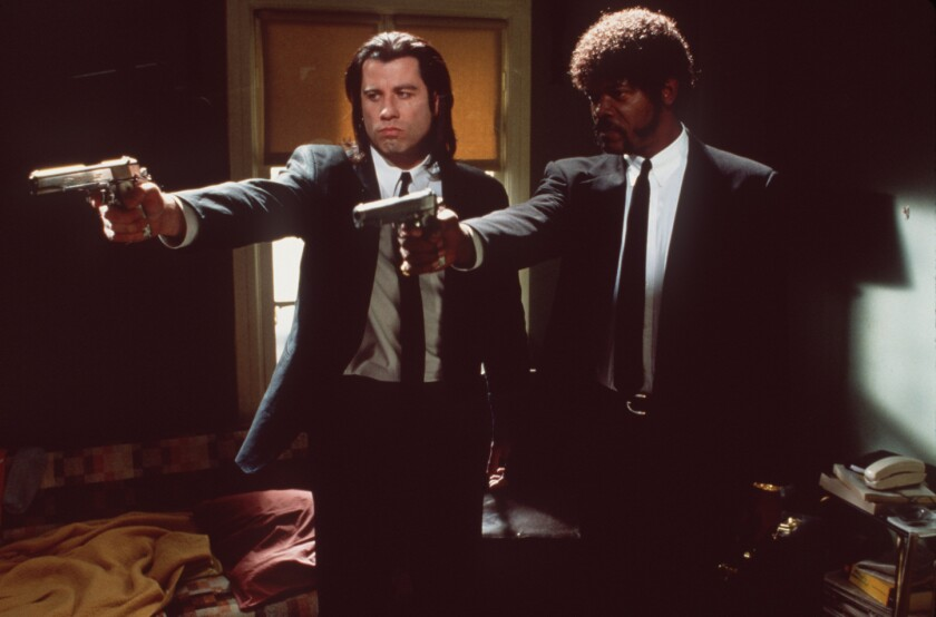 "John Travolta, left, and Sam Jackson in ""Pulp Fiction"" (1994)."