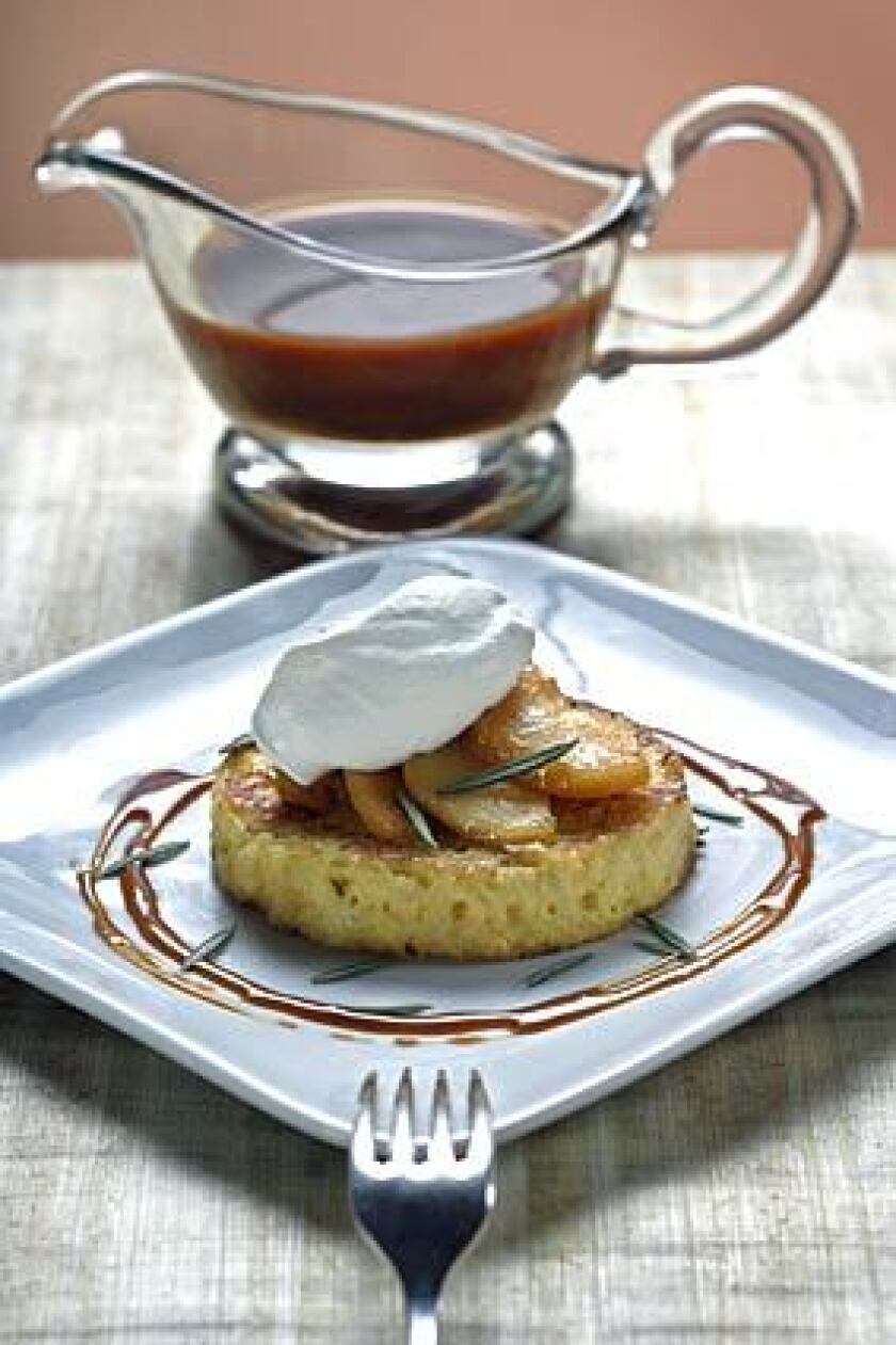 Rosemary pain perdu (bread pudding)  with sauteed apples, Chantilly cream and Armagnac caramel sauce