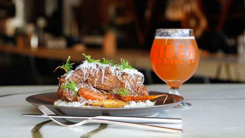 "Bison risotto by executive chef Danilo ""DJ"" Tangalin at Bivouac Ciderworks."