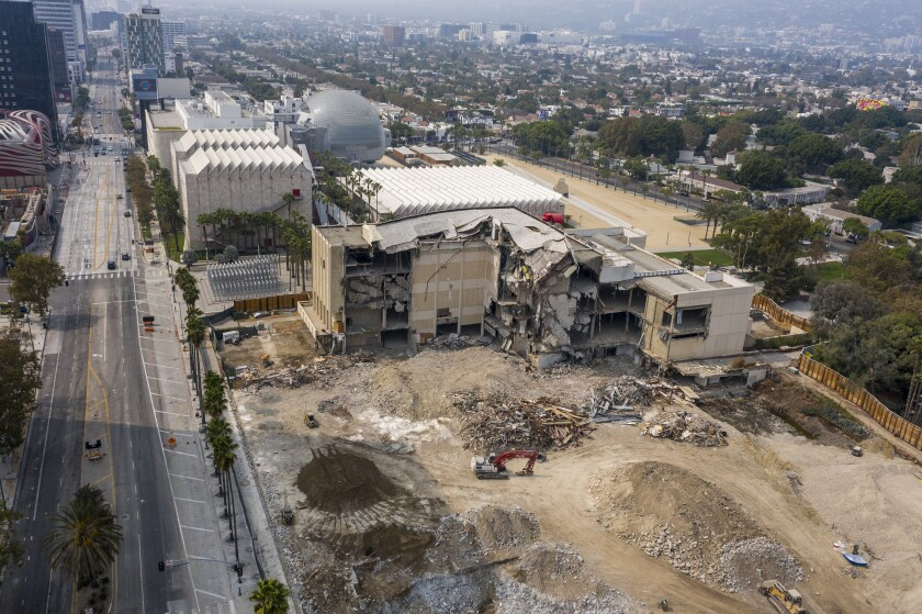 Demolition of the L.A. County Museum of Art's Ahmanson building earlier this week.