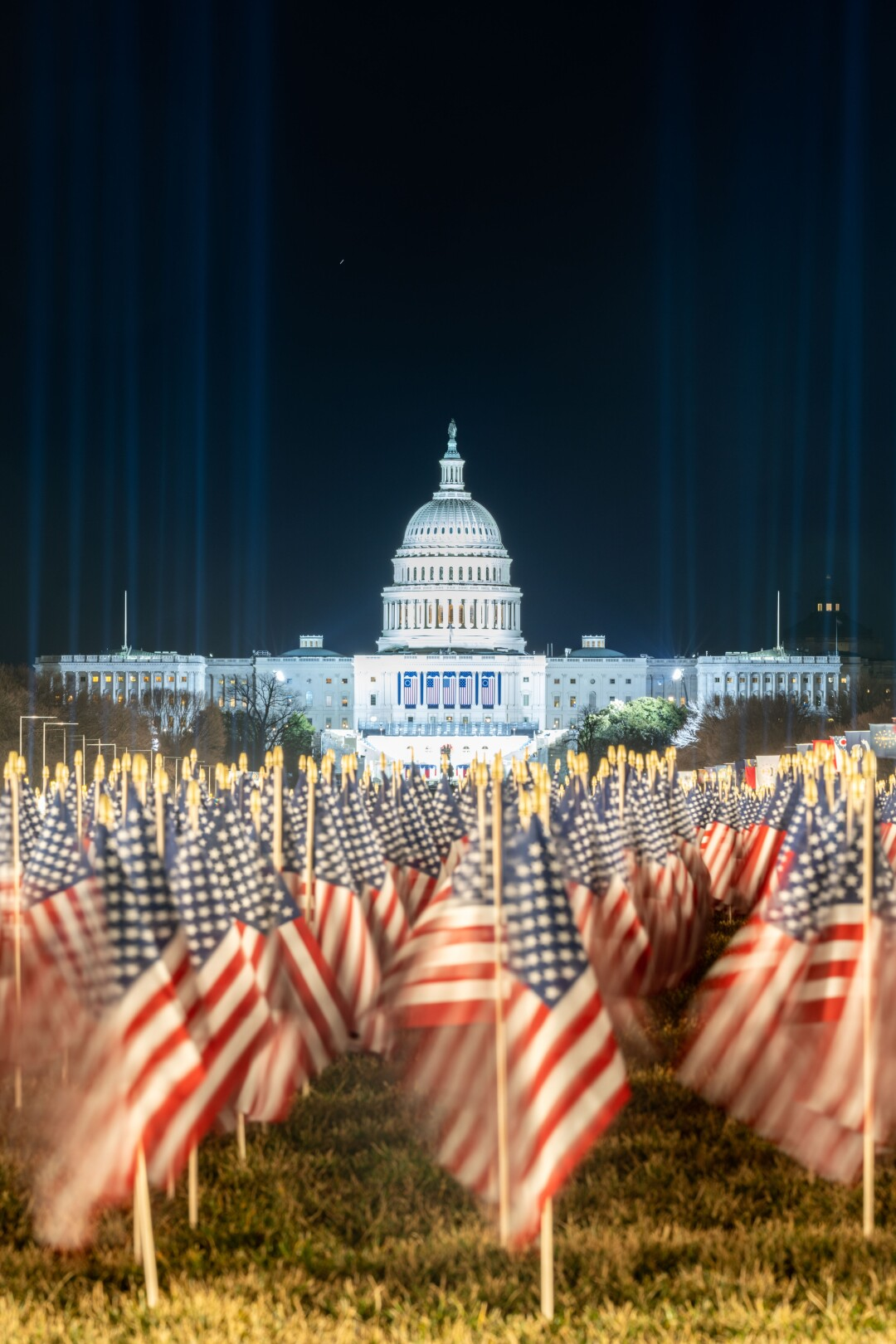 The National Mall decorated with U.S. flags