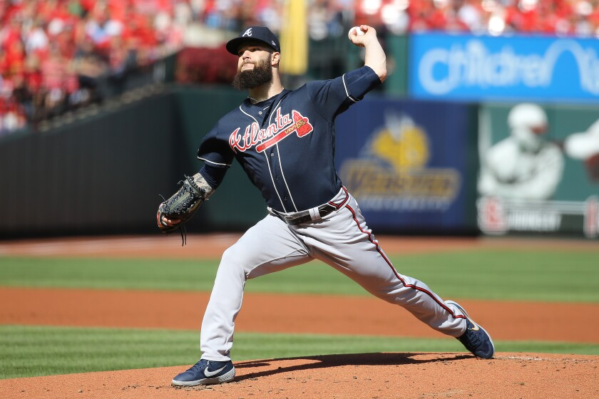 Dallas Keuchel pitches for the Braves during Game 4 of the NLDS against the Cardinals on Oct. 7, 2019.