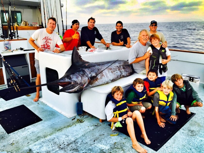 The 13-foot, 540-pound blue marlin caught by six R. Roger Rowe third graders and their crew. Courtesy photo.
