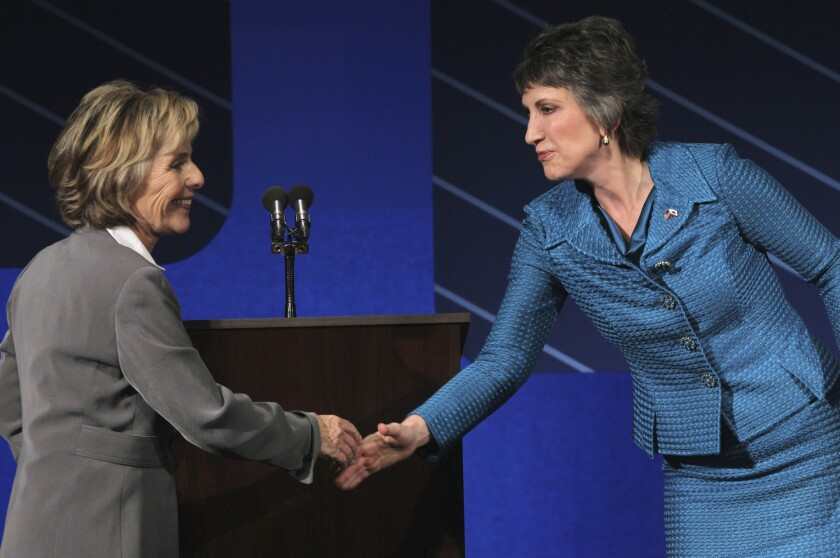 U.S. Sen. Barbara Boxer (D-Calif.), left, shakes hands with Republican challenger Carly Fiorina at the conclusion of a debate on the campus of Saint Mary's College in Moraga, Calif., in 2010.