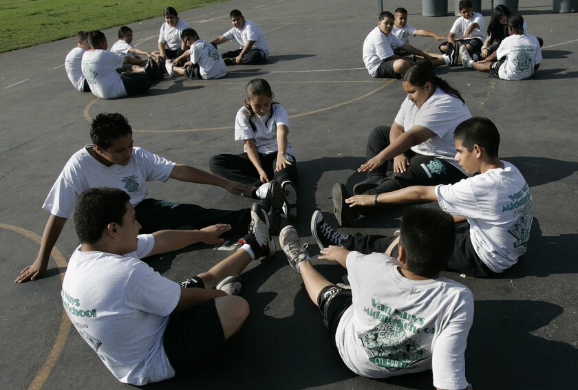 A physical education classes at Van Nuys Middle School in 2006. Several California school districts are being sued for allegedly not providing enough time for kids to exercise.