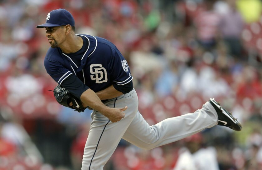 San Diego Padres starting pitcher Tyson Ross throws during the first inning of a baseball game against the St. Louis Cardinals Thursday, July 2, 2015, in St. Louis. (AP Photo/Jeff Roberson)