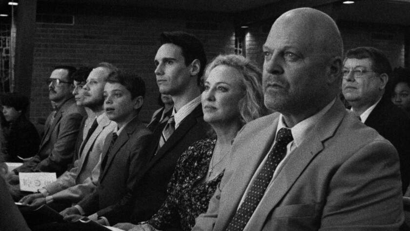 """(From right) Michael Chiklis, Virginia Madsen, Cory Michael Smith and Aidan Langford in the family drama """"1985."""""""
