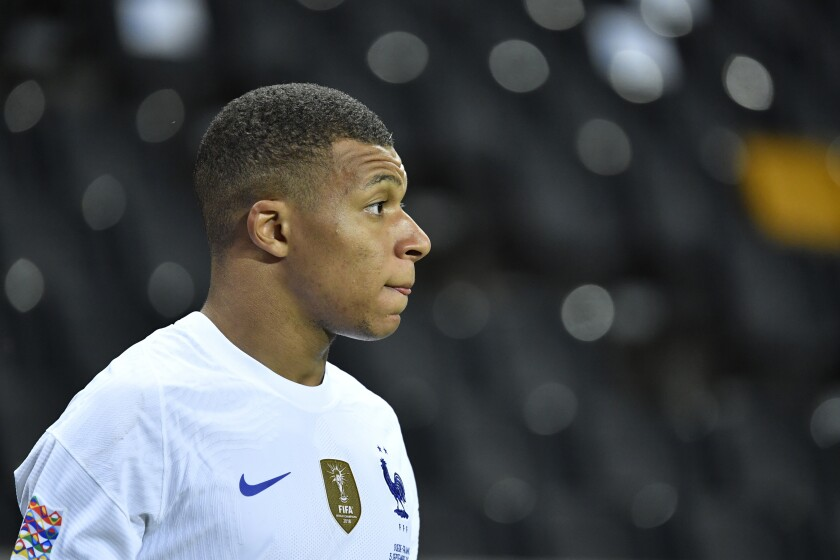 France's Kylian Mbappe looks on during the UEFA Nations League soccer match between Sweden and France at Friends Arena, Saturday, Sept. 5, 2020, in Stockholm, Sweden. (Jessica Gow/TT via AP)