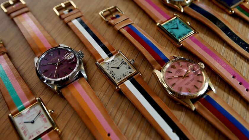 A company called laCalifornienne is marketing restored Rolex and Cartier watches that feature colorful faces and hand-painted leather bands.